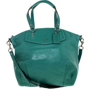 COACH Teal Green Ashley Leather Satchel Bag